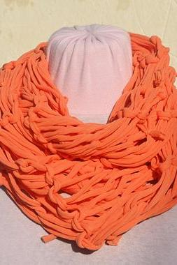 Orange Jersey Scarf, Loop Scarf Infinity, T shirt Necklace. Knit Jersey Scarf.