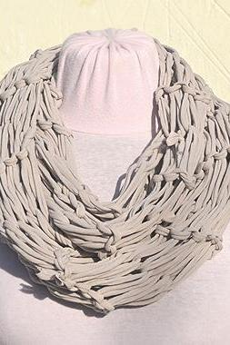Grey Jersey Scarf, Loop Scarf Infinity, T shirt Necklace. Knit Jersey Scarf.