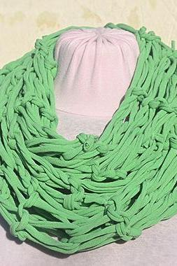 Green Jersey Scarf, Loop Scarf Infinity, T shirt Necklace. Knit Jersey Scarf.