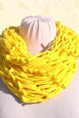 Yellow Jersey Scarf, Loop Scarf Infinity, T shirt Necklace. Knit Jersey Scarf.
