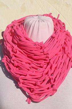 Pink Jersey Scarf, Loop Scarf Infinity, T shirt Necklace. Knit Jersey Scarf.