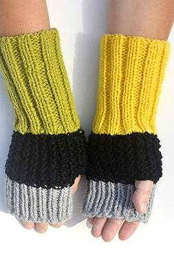 Long Fingerless Color Block Black Grey Yellow Light Olive Arm Warmers, Knit Mittens. Winter Accessories