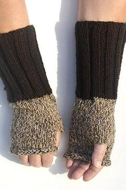 Long Fingerless Glove Beige Brown Arm Warmers, Knit Mittens. Winter Accessories