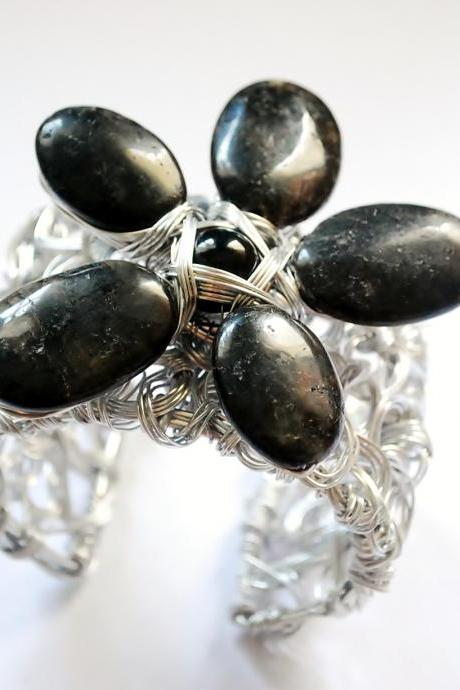 Obsidian Wire Wrapped Flower Bracelet Cuff