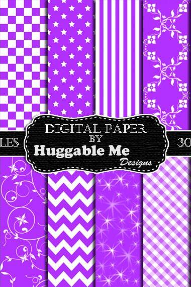 Violet Scrapbook Paper - Instant Download Purple Pattern Paper for Wedding, Scrapbook, Backgrounds, Cards 12x12 - HMD00090