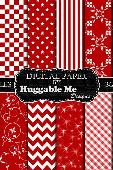 Red Scrapbook Paper - Instant Download Dark Red Pattern Paper for Wedding, Scrapbook, Backgrounds, Cards 12x12 - HMD00091