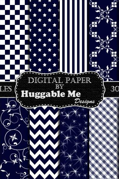 Blue Scrapbook Paper - Instant Download Navy Blue Pattern Paper for Wedding, Scrapbook, Backgrounds, Cards 12x12 - HMD00092