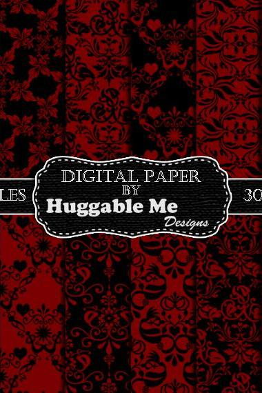 Red Damask Paper - Red & Black Digital Damask Designs, Instant Download Printables for Scrapbook, Wedding, Cards - HMD00094