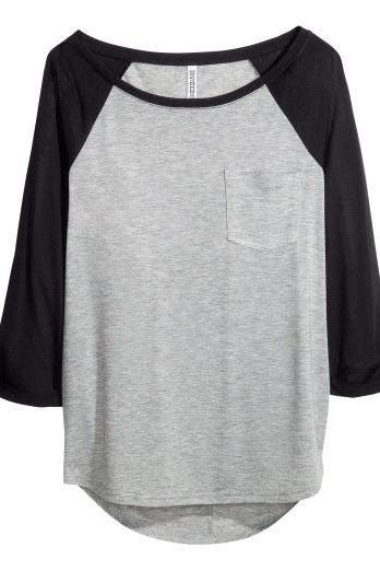 *free ship* grey colorblock Viscose Top