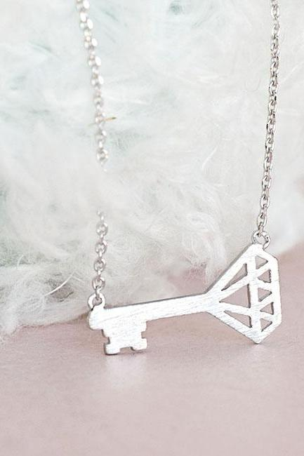 Silver Sideways Key Charm Necklace, Whimsical Birthday Jewelry