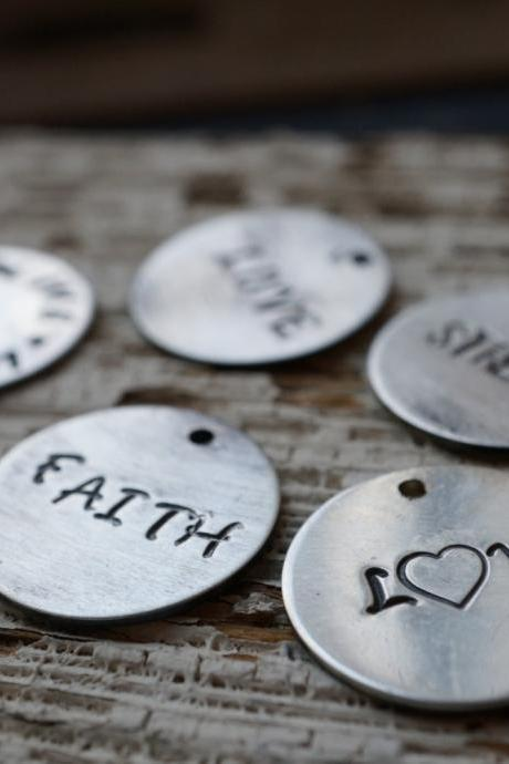 Inspirational charms, Add on charms for necklace, Hand stamped charms, Handcrafted charms, sterling silver handmade