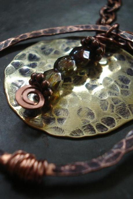 Handmade Necklace, hammered copper necklace, Copper Jewelry, Statement necklace