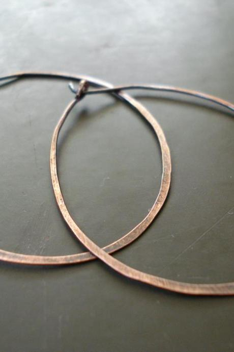 Hoop earrings, Copper hoop earrings, copper hoops, large hoops, earrings, hammered earrings