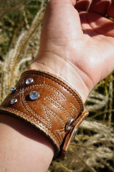 Leather Rhinestone brown cuff bracelet, Recycled belt cuff bracelet, leather bracelet