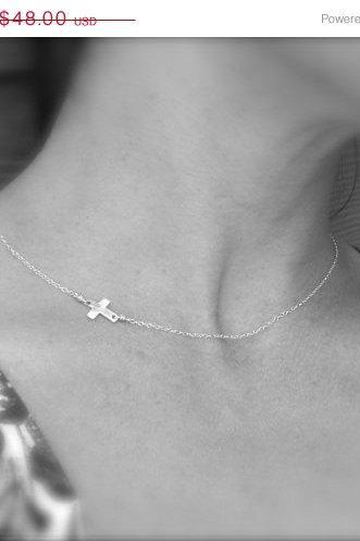 ON SALE Sideways cross necklace, Tiny Cross necklace, silver cross necklace, silver cross, Cross necklace