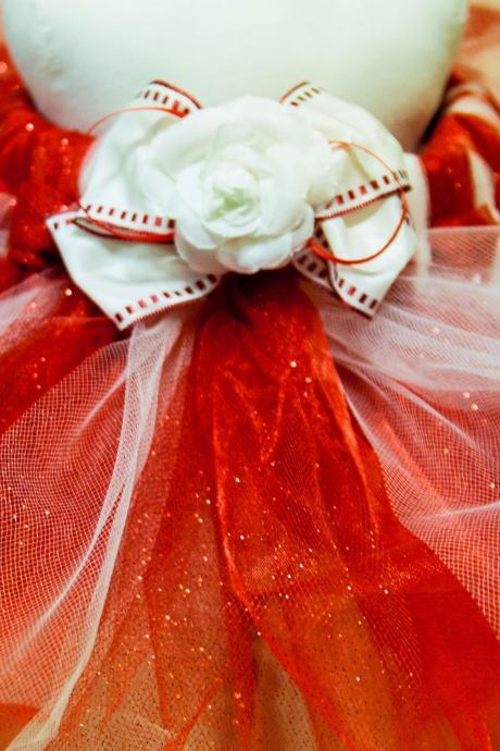 Holiday-Christmas-Tutus-Candy CaneTutu in Red Glitter Tulle, Organza & Cream Tulle