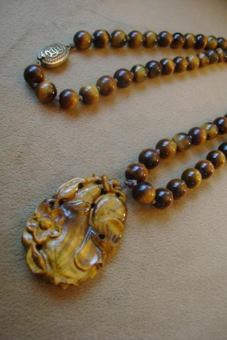 Vintage Tigers Eye Necklace 1970s