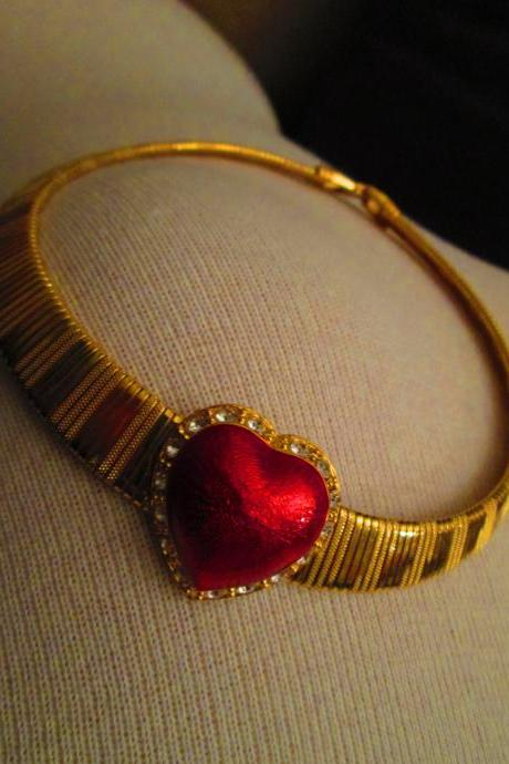Red Heart on a Gold Choker Necklace - One of a Kind