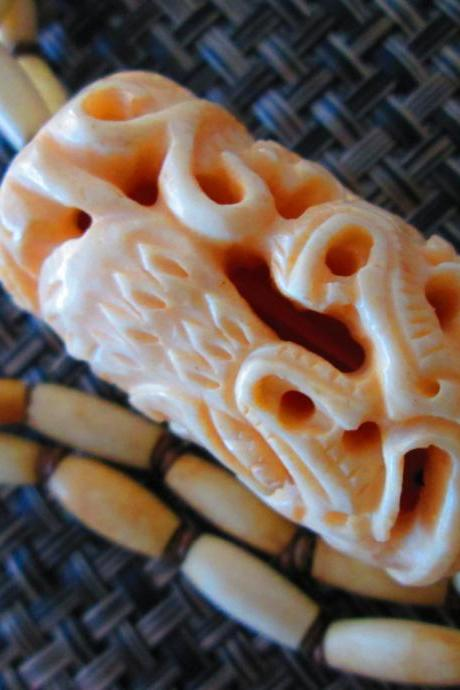 Vintage Carved Bone Dragon Bead Long Necklace 1980