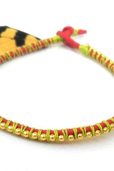 Neon friendship bracelet, ball chain gold, stackables, trendy Metallic fashion, Neon spring 2012 for her under 15