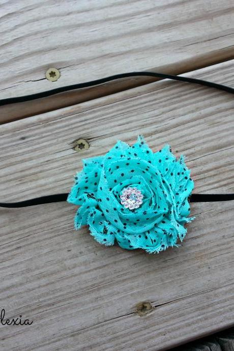 Turquoise Shabby Flower Stretch Headband