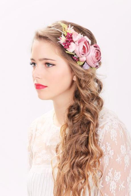 bridal flower hair crown, woodland wedding, pink flower, milinery flowerwedding hair accessories