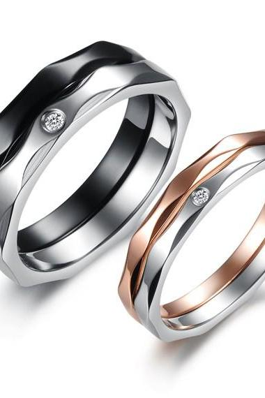 Him & Her 2 Tone Removable Titanium Couple Rings Set