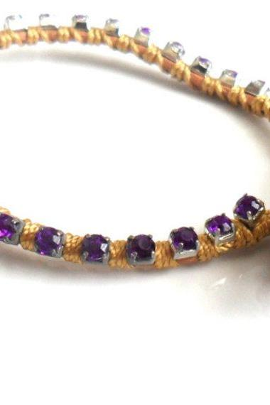 Purple rhinestone friendship bracelet, crystal chain, silk woven, stackables Trendy fashion Butternut Galaxy spring 2012 for her under 20