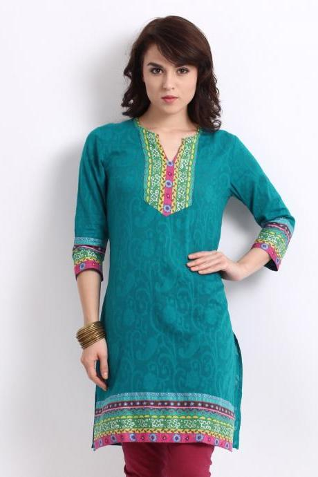 Blue Jacquard Kurta for Woman,(Perfect Gift For Women) Super Fast Delivery : Your Daughter, GF and Wife will have big Smile and Happiness