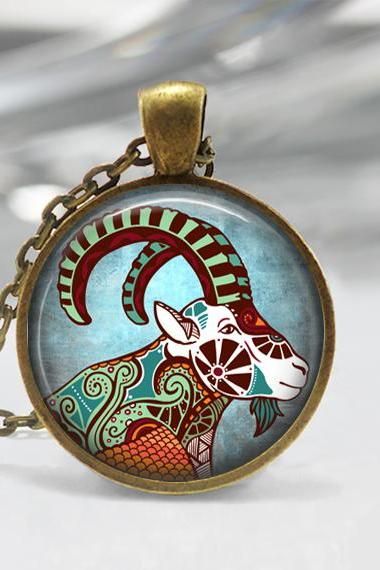 Capricorn Zodiac Glass Pendant -Capricorn Zodiac Jewelry -Zodiac Necklace - Art Pendant -Zodiac Necklace -Zodiac Charm,Astrology Pendant