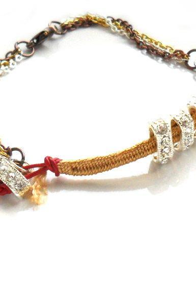 Silk braided bracelet, mix metal chain, red leather, rhinestone crystal, Metallic trendy Mother's day gift for her under 25