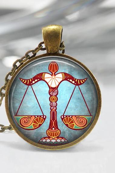 Libra Zodiac Glass Pendant - Libra Zodiac Jewelry - Zodiac Necklace - Art Pendant - Zodiac Necklace -Zodiac Charm,Astrology Pendant