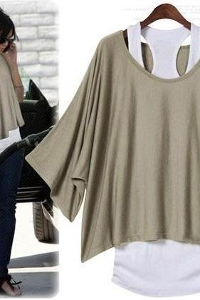 Fashion And Sexy Bat Sleeve Loose Big Yards T-Shirt