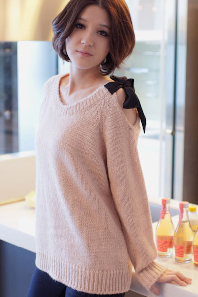 Fashion Sweet O Neck Long Sleeve Sweater