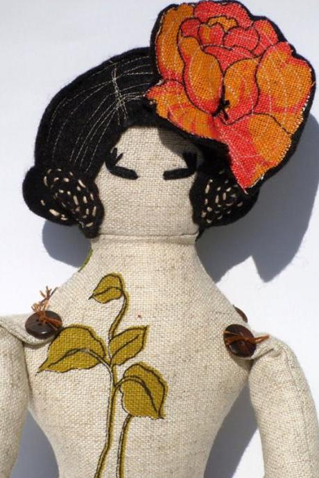 Art Doll: Home Is Where The Heart Is. Original Design In Linen.