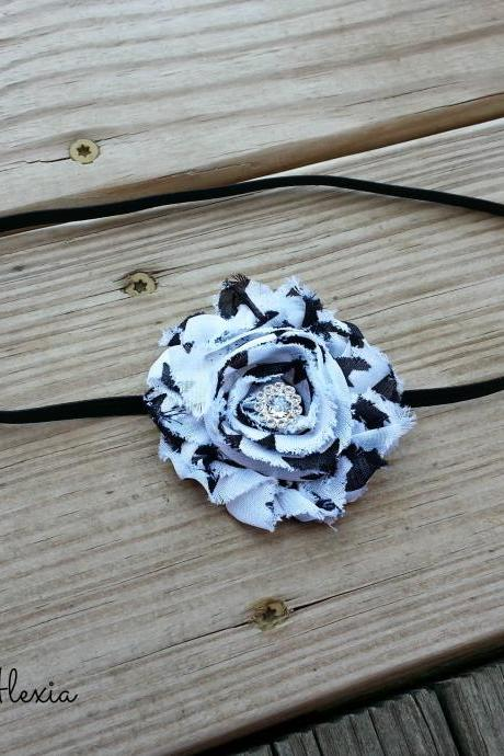 Black & White Zebra Shabby Flower Stretch Headband