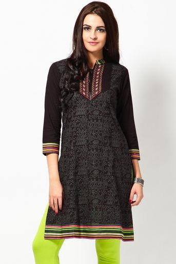 Black Printed Cotton Kurti
