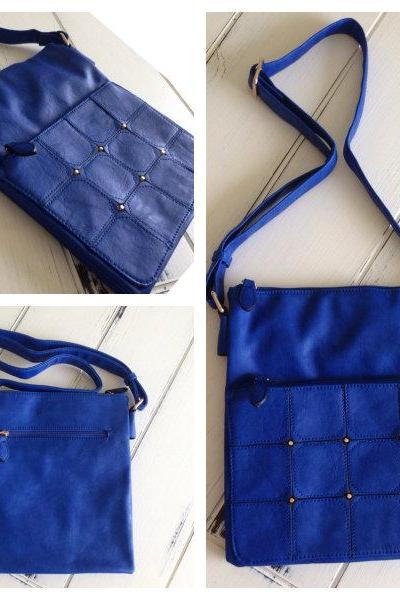 Vegan Studded Cross Body Purse in Cobalt
