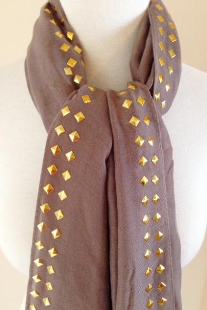Studded Scarf in Taupe