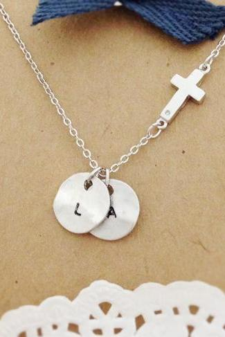 Sideways Cross Necklace with Personalized Initial Coin, Initial Necklace, best friend necklace, circle, coin, initial jewelry