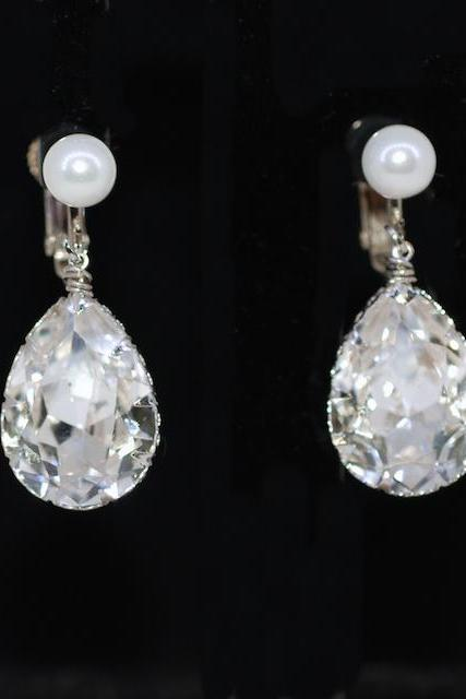 Wedding Earrings, Bridesmaid Earrings - White Pearl Screw Back Clip On Earring with Swarovski Clear Teardrop Crystal (E607)