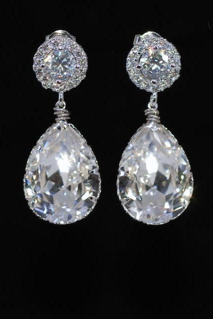 Wedding Earrings, Bridesmaid Earrings, Bridal Jewelry - Cubic Zirconia Round Earring with Swarovski Clear Teardrop Crystal (E604)