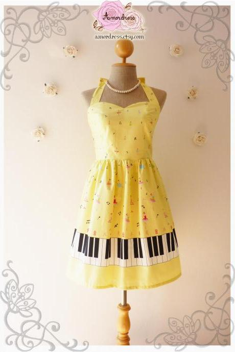 Music Lover Yellow Dress Piano Dress Retro Party Bridesmaid Dress Choir Birthday Concert Dress -Size XS,S,M,L,CUSTOM-