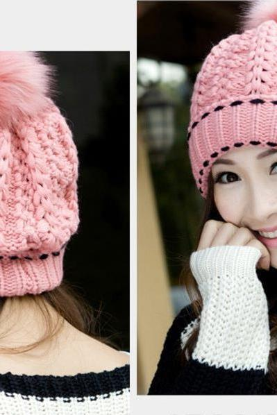 Free Shipping Winter Cute Little Ball Knitted Bomber Hat For Girls