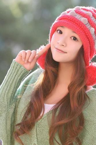 Free Shipping Winter Cute Little Ball Knitted Bomber Hat For Girls - Watermelon Red