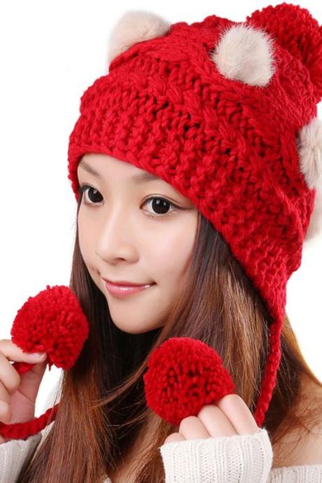 Free Shipping Cute Various Little Ball Knitted Bomber Hat For Girls - Red