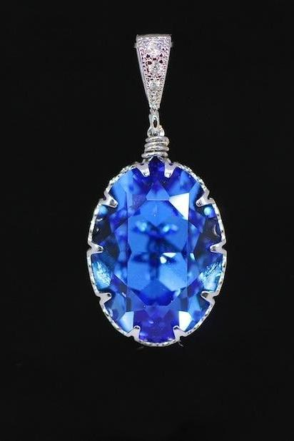 Cubic Zirconia Detailed Pendant with Swarovski Sapphire Oval Crystal - Wedding Jewelry, Bridesmaid Gift, Bridal Jewelery (P043)