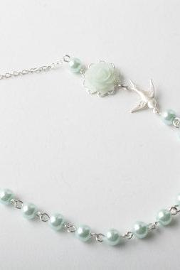 Mint rose and bird necklace - Mint necklace - Bridesmaid necklace - MInt wedding - Vintage style - delicate necklace - Mint jewelry - shabby chic necklace - cabochon jewelry - vintage style necklace - Flower necklace - rose jewelry - collier bleu - Made in Canda