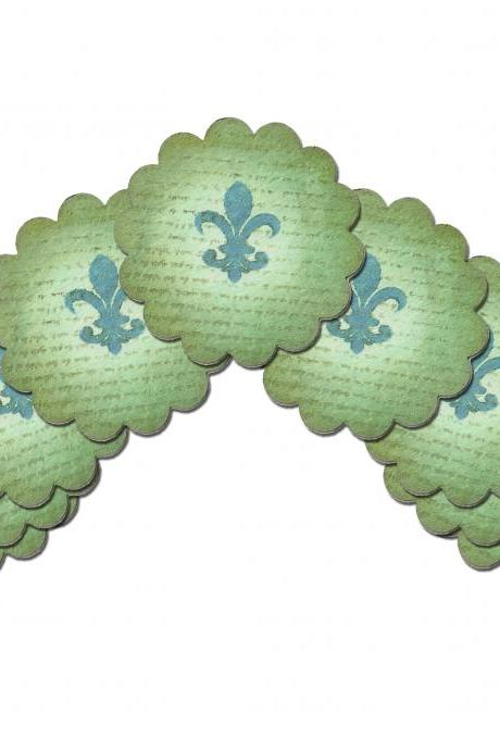 Scalloped Circle Fleur de Lis Vintage Gift Tags , 9 pcs