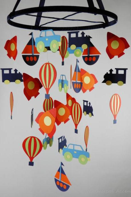 Transportation Nursery Mobile with Rocket Ship, Hot Air Balloon, Car, Boat and Train